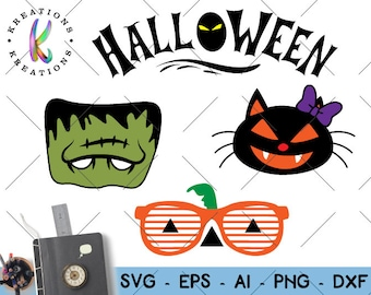 Halloween Elements SVG Frankenstein Black Cat Sunglasses Halloween printable iron on Cut Files Cricut Silhouette Digital Vector SVG dxf Png