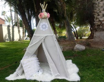 Grey Vintage teepee, kids Teepee, tipi, Play tent, wigwam or playhouse with canvas and Overlapping front doors