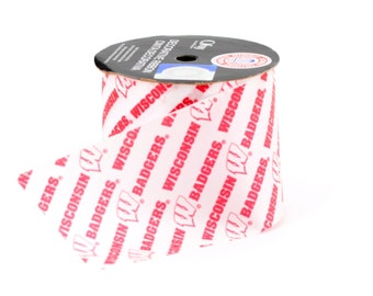 """2.5"""" Unversity of Wisconsin Badgers Ribbon  - NCAA RIBBON - Offray - 9 feet -Red / White - Offray College Ribbon"""