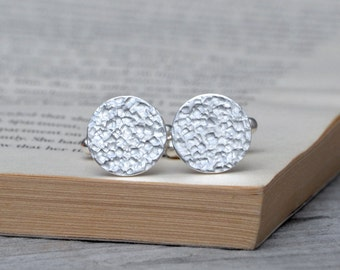 Simple Cufflinks With Textured Surface, Classic Round And Oval Cufflinks Handmade In Sterling Silver