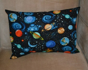 Travel Pillow Case / Child Pillow Case PLANETS in our SOLAR SYSTEM / Moon / Saturn