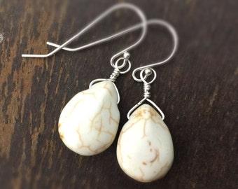 White Turquoise Earrings - Sterling Silver Jewelry - Gemstone Jewellery - Southwestern - Everyday - Teardrop