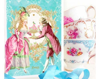 Marie Antoinette card, romantic couple with macarons, Valentine's day, birthday card, Bridal tea, engagement card