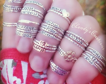 Sterling Silver Stackable Name Rings, Stackable Mother's Rings, Mix and Match Rings, Stackable Rings, Customized Rings, Name Rings Stackable