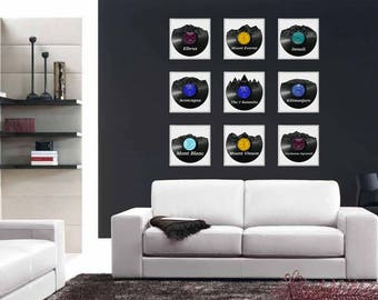 9x Mountain skyline - get 9 pieces and pay only for 7 ! vinyl record art for special occasions Birthday, Christmas, Weeding, Wall Decoration