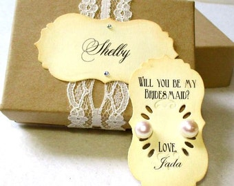 Will you be my bridesmaid - Set of 2 - Earrings - 925 Silver - Pearl - Stud - Personalized Box - Bridesmaid Gift