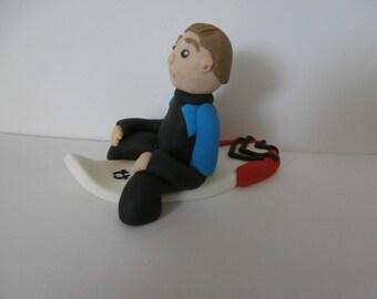 Edible boy surfer, surfboard, cake topper, cake decoration, birthday, retirement, celebration,