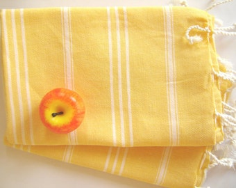 Set of  2 Turkish Hand Towel (Peshkir), Tea Towel,  Yellow