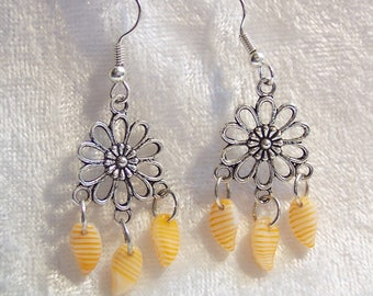 Yellow Orange Earrings, Silver Daisy Earrings, Yellow Orange Glass Petal Earrings, Daisy Earrings, Clip-on Available