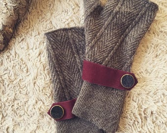 Upcycled Wool/Cotton blend Fingerless Gloves