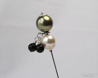 Swarovski Pearl Stick Pin, Green and Black Pearls, Charm Pin, 3 Inch Pin, Hat Pin, Lapel Pin, Hijab Pin, Wedding Jewelry, H0238