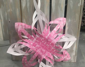 Pink Paper Star Christmas Tree Topper Ornament