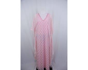 1960's Pink Floral Lace Flowy Long Vintage Dress