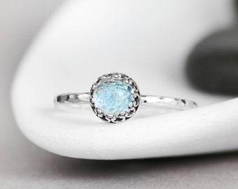 Sterling Silver Blue Topaz Ring - Dainty Promise Ring- Blue Topaz Engagement Ring- December Birthstone Ring- Silver Blue Topaz Stacking Ring