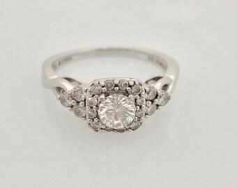 Vintage 0.61-Carats 14K White Gold Diamond Halo Engagement Ring Size 5 3/4 US