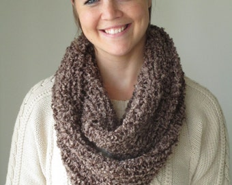 Brown Hand Knit Infinity Scarf