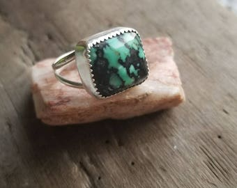 Handcrafted Natural Newlander Sterling Silver Ring Size 6.5 US