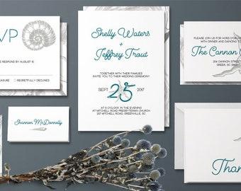 Gilded Finch Seaside Wedding Invitation Set
