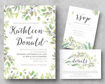 PRINTABLE Greenery Wedding Invitation, Watercolor Invitation, Wedding Invitations, Rustic Wedding Invitation, Outdoor Wedding Invitation