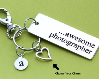 Personalized Photographer Key Chain Stainless Steel Customized with Your Charm & Initial -K570