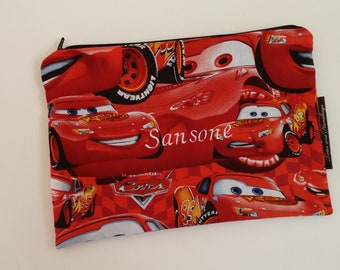 10 Lightning McQueen Snack Bags Embroidered with Name   / 3 sizes / Choice of Lining