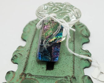 Beautiful One of a Kind Hand-Crafted Dichroic Fused Glass Pendant with Shooting Star Design