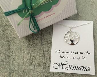 Colgante plata arbol de la vida, colgante hermana, colgante plata, regalo personalizado,  regalo navidad