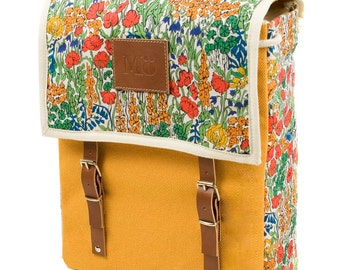 Mill Print Backpack, Canvas and Leather Backpack, Mediterranean Inspired, Yellow Canvas, Printed Fabric Bag, Women's Backpack