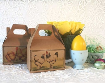 Easter Favor Box Hens Chickens Roosters Rustic Country Kitchen | Mini Kraft Gable Boxes | Farm Birthday Shower Party Favors | Set of 6
