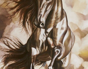 Arabic horse, oil painting, 30x48in