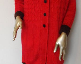 Vintage Hand Knitted Red Sweater Coat* Size Small Lipstick Red Black Buttons Dark Chocolate Cuffs & Hem Edge Holiday Christmas Winter