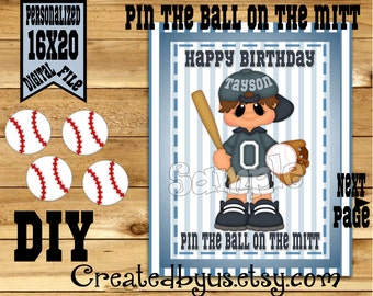 Pin the Baseball on the Mitt PRINTABLE party game Baseball Birthday Party Game ideas Pin the Tail DIY 16x20 Printable game poster Download