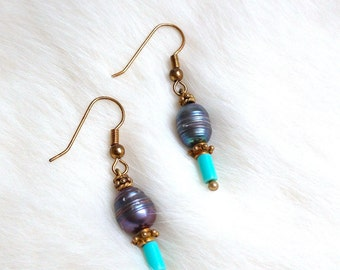 Gold-Plated Silver Earrings CHRYSOPRASE and freshwater PEARLS