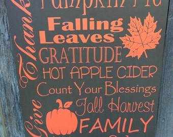 Halloween Decor Fall Decor Thanksgiving Decor Fall Holiday Wood Sign Autumn Give Thanks Blessing Wall Decor Holiday Decor Wall Art Orange