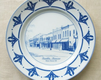 Franklin Tennessee Plate, Main Street III in Blue and White Porcelain, Raymon Troup