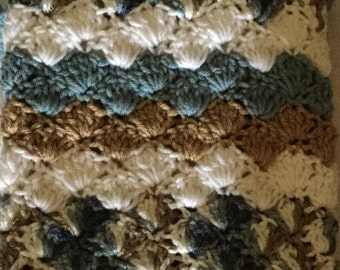 Crocheted baby blanket-Travel/stroller/crib/car seat/toffee/steel blue/multi/white