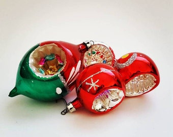 Glass Vintage Christmas Ornaments, Set of 4