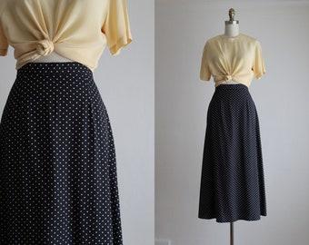 navy dot midi skirt