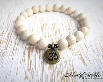 Ohm Aum Om Bracelet, Riverstone Bracelet, Yoga Charms, Gemstone Bracelet, Boho Jewelry, Mala Bead Bracelet, Buddhist Jewelry, Mala Bracelet