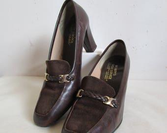 Vintage 1970s Womens Shoes Dark Brown Suede Block Heel Leather 70s Pumps Vintage Footwear 9.5M