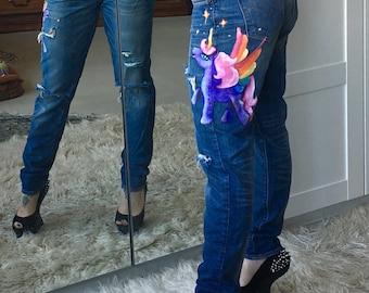 LILAC SPARKLE Unicorn Pegasus hand painted Distressed Bold Curve skinny jeans Levis W 28 L 30