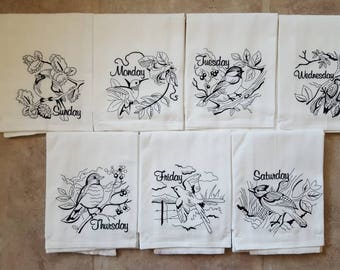 Black Birds Days of the Week Embroidered Flour Sack Dish Towels