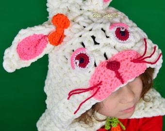 Crochet Rabbit Hat Rabbit Hooded Cowl Hooded Cowl Scarf Crochet Kids Hat Scarf Crochet Kids Scoodie Crochet Scoodie Girls Crochet Hat