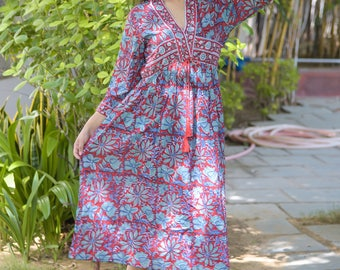 Indian Cotton Red Block Printed Floral Long Dress Hippie Sexy Bohemian Evening Tunic