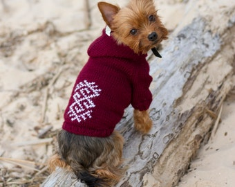 Handmade knitted dog hoodie, Dog jumper, Dog sweater, Dog pullover, Pet clothing, Dog Clothing, Knitted dog sweater, Puppy sweater