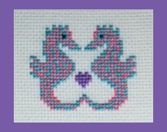 Two Tiny Seahorses Cross Stitch Pattern, Instant Download Cross Stitch Pattern