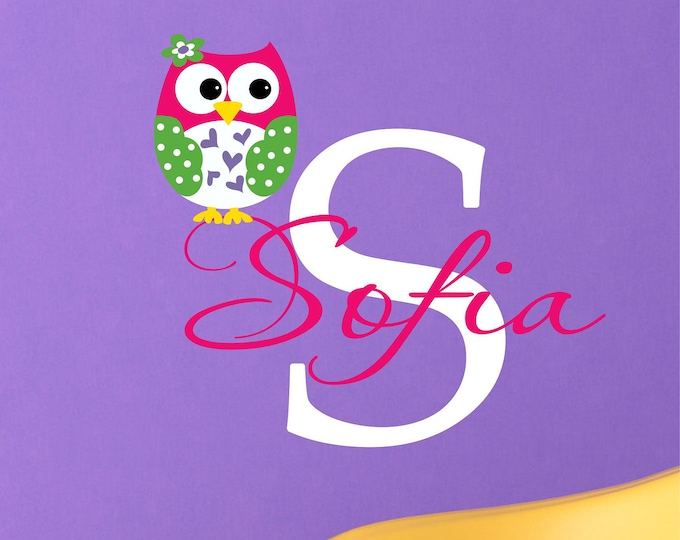 Baby Girl Name Signs, Owl Wall Art, Vinyl Stickers, Nursery Name Sign, Wall Decals Nursery, Owl Decor, Personalized Baby, Monogram Decal