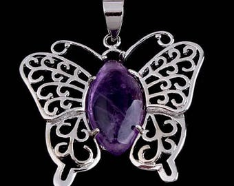 Silver plated - Amethyst Butterfly pendant