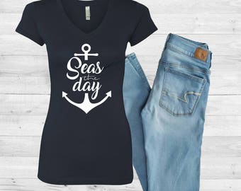 Seas the Day - Ladies Graphic V-neck Tee // Comes in MANY color options and styles