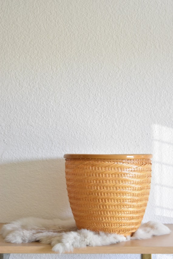 medium woven rattan basket planter / boho